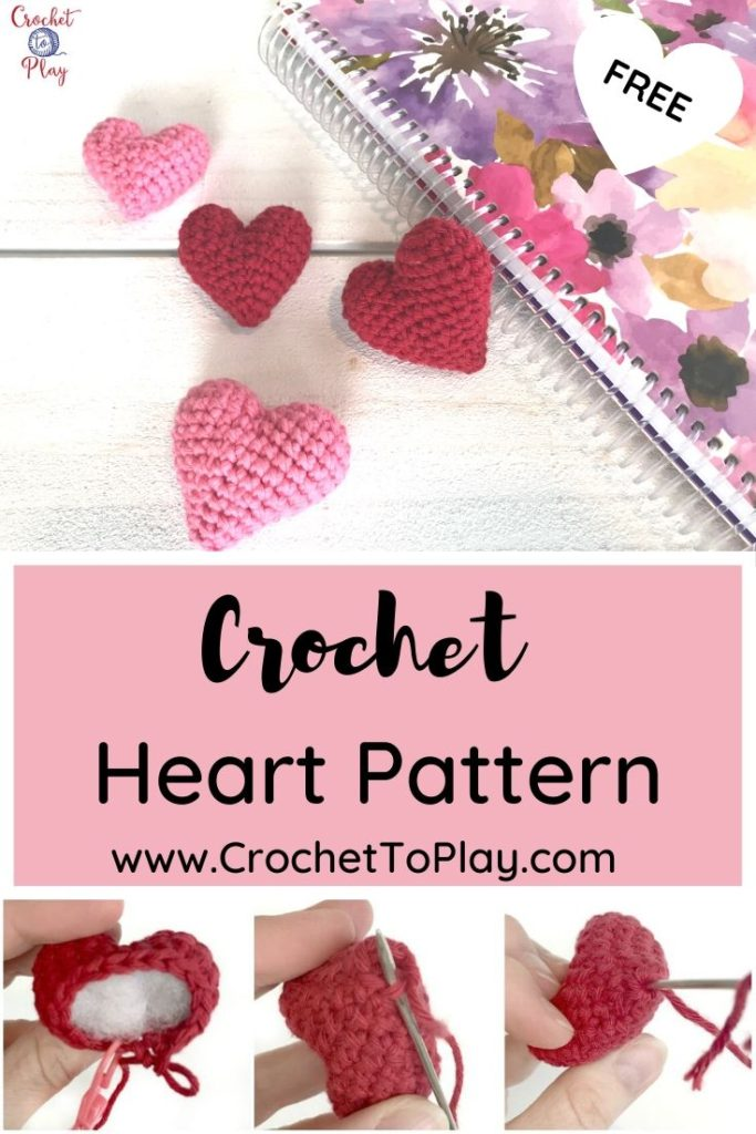 Owlishly: Corazoncitos, free amigurumi heart pattern (in 3 sizes!) | 1024x683